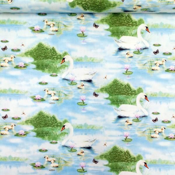 Bilde av Fugler - svane og svaneunge på vann, 2-7cm