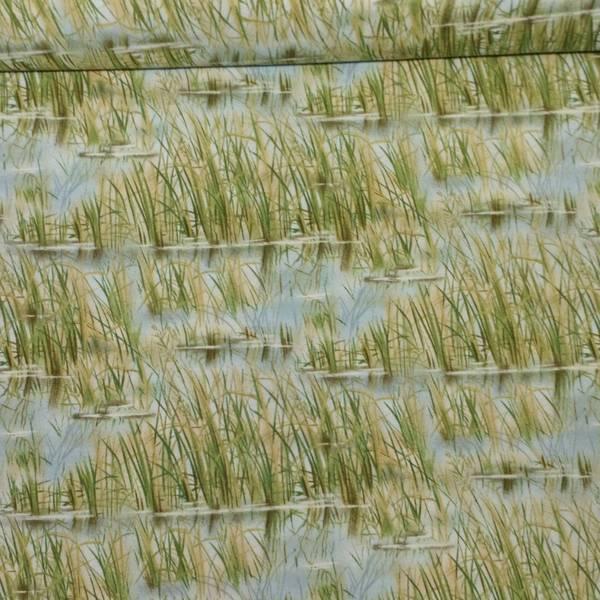 Bilde av Dam - blå dam med grønt/beige gress, 2,5-11cm brede hvite stripe
