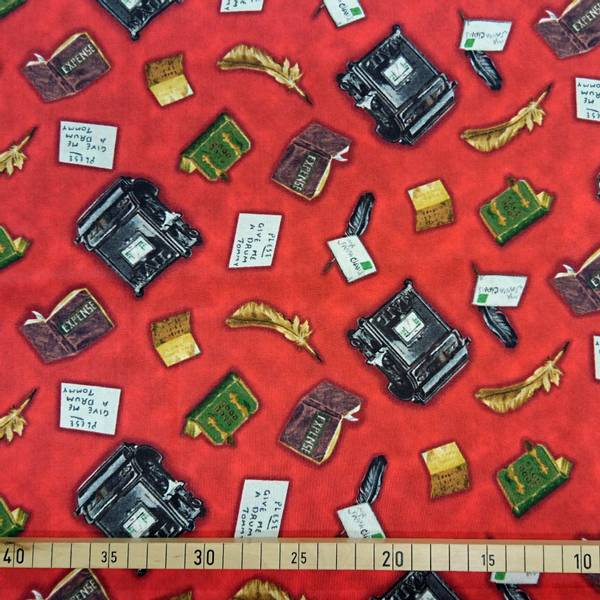 Bilde av Julebrev, 2-6 cm motiv med brev, bøker, fjærpenn og postkasse på