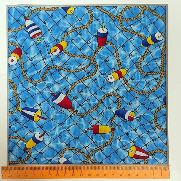 Bilde av Fiskedupper, ca 4 cm, med tau og garn på blå