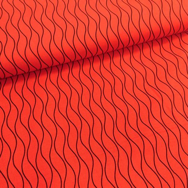 Bilde av Striper - 1 mm sorte bølgelinjer på rødt