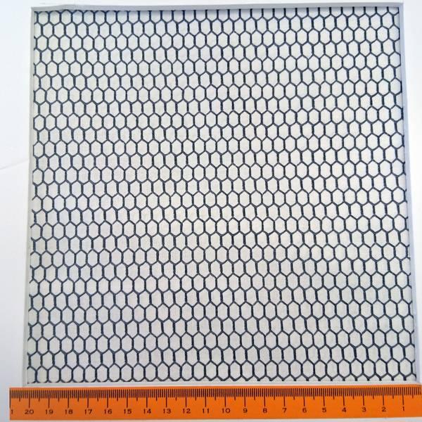 Bilde av Grå 5mm hønsenetting mønster på hvit