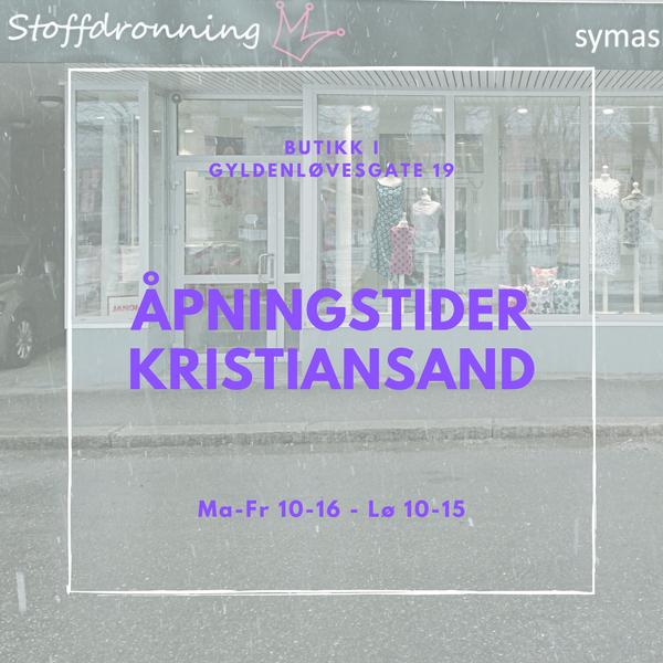 Åpningstider i butikken i Kristiansand