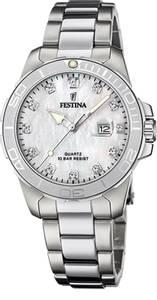 Bilde av F20503-1  Festina stål,lenke, hvit skive, 100m