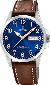 Bilde av F20358-B  Festina 100m,dag/dato,brun rem/blå