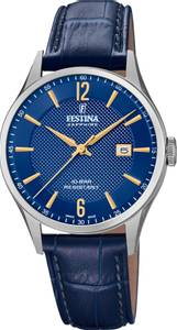 Bilde av F20007-3  Festina Swiss Made, hr, rem, blå skive