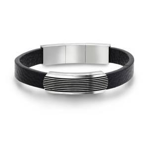 Bilde av Armbånd i stål med sort skinn 972478