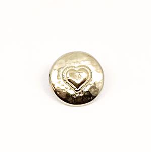 Bilde av Tinnknapp, 18mmHjerte gull lys