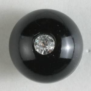 Bilde av Kuleknapp, 10mm strass,sort