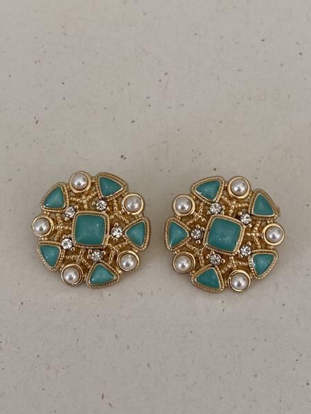 Bilde av Mint knapp med perle og bling