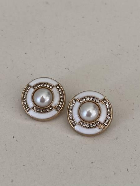 Bilde av Hvit knapp med perle og bling