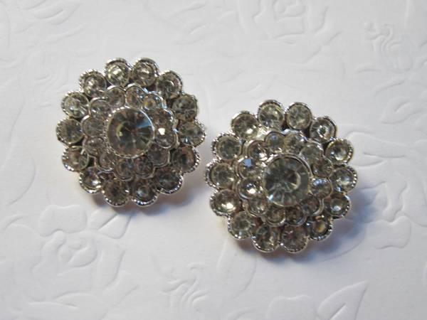 Bilde av Elegante bling knapper - sølv
