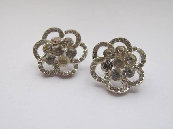 Bilde av Bling blomsterknapper - sølv
