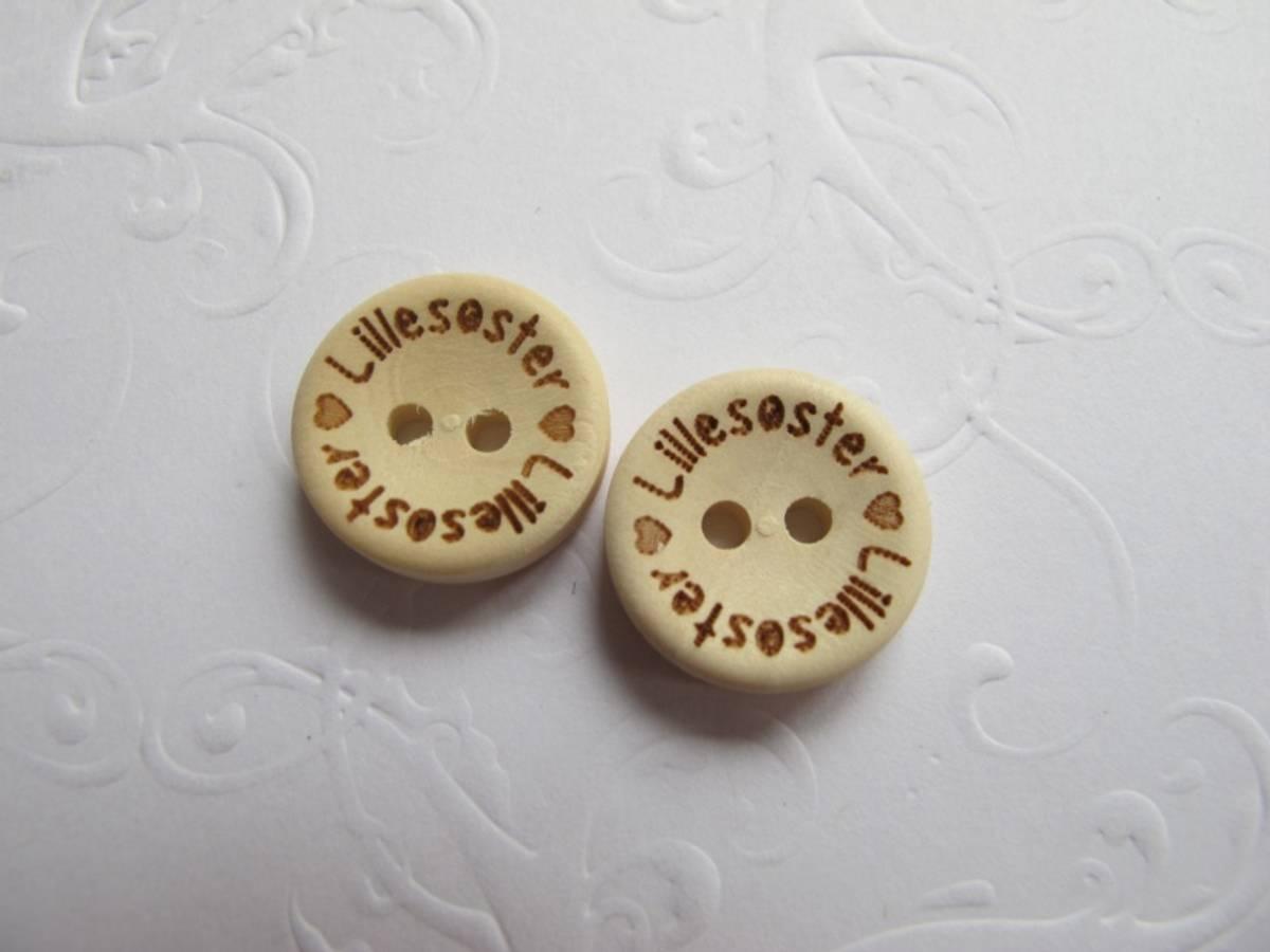 10 stk Lillesøster - knapper 15mm