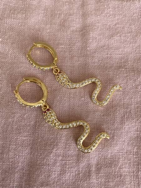 Bilde av Øreringer med slanger i bling