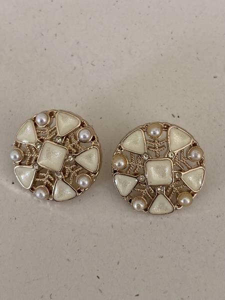 Bilde av Gul knapp med perle og bling