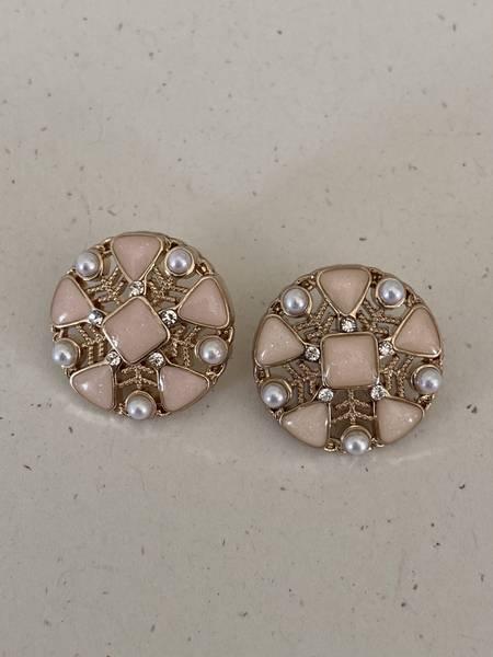 Bilde av Rosa knapp med perle og bling