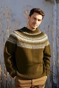Bilde av  Rauma Garn - Spiret genser herre strikkepakke