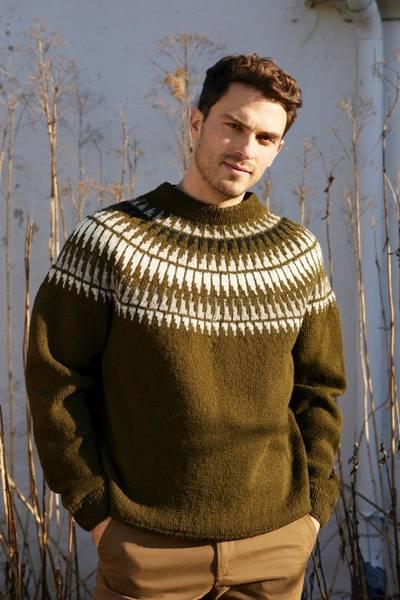 Rauma Garn - Spiret genser herre strikkepakke