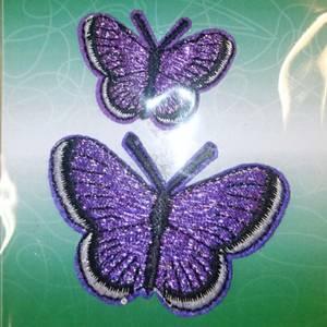 Bilde av Symerke med lim - 2 st sommerfugl lilla, 3,5 & 5