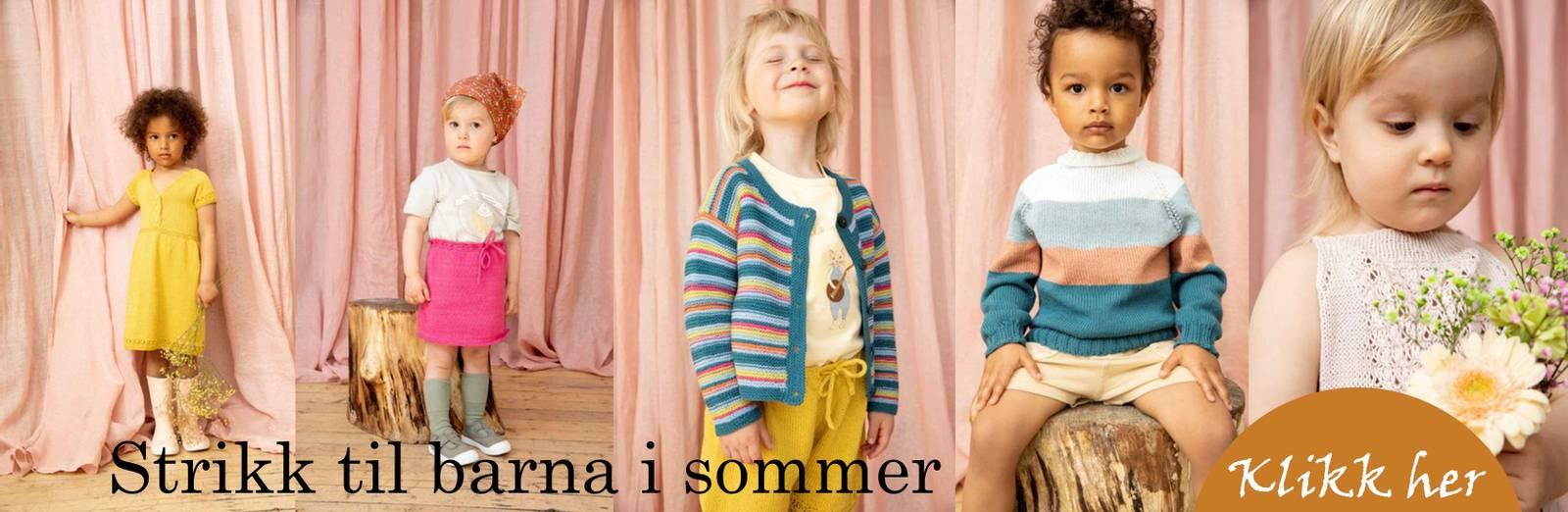 Sommer strikk fra Raum garn i plum og pelini  dame og barn