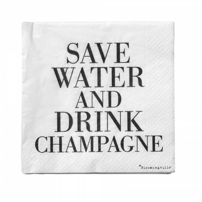 Bilde av Servietter Drink Champagne BLACK
