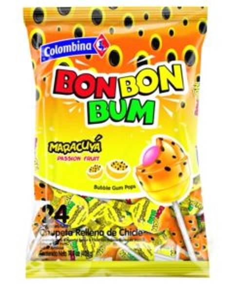 Bilde av Bon Bon Bum Passion Fruit Bubble Gum Lollipops 408g