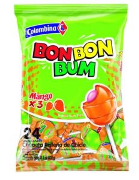 Bilde av Bon Bon Bum Mango Bubble Gum Lollipops 408g