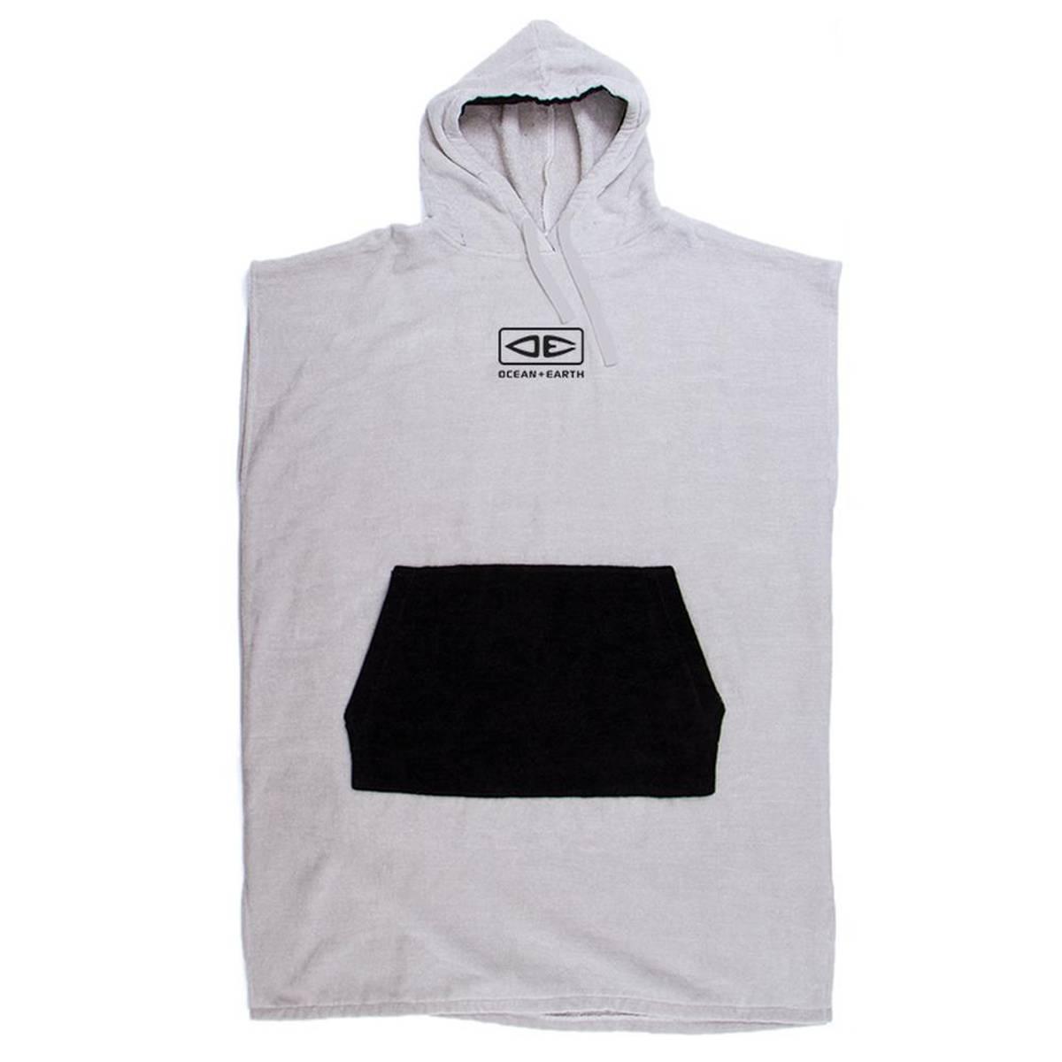 O & E - Hooded Poncho Day Break - Light Grey/Black