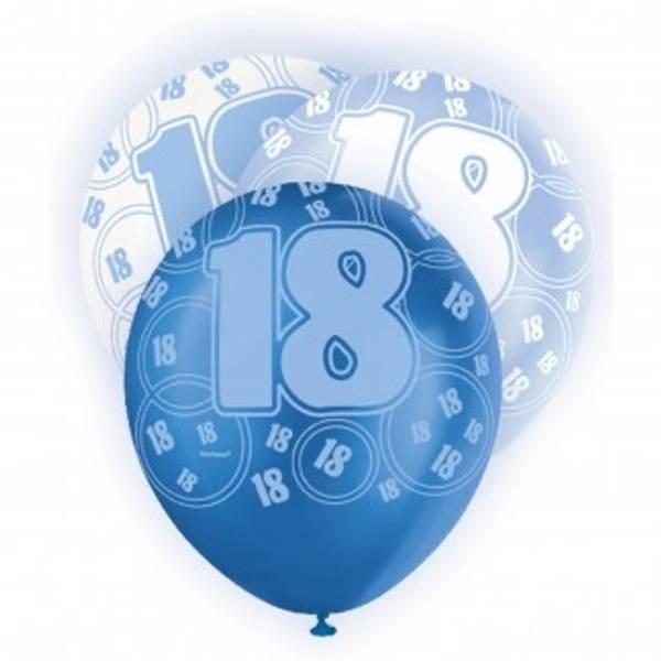 Bilde av 18 år Ballonger, Blå og Hvit
