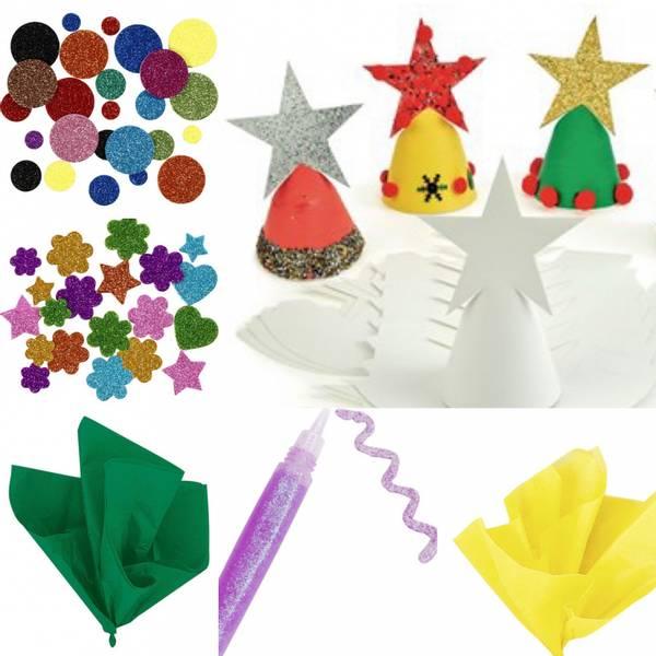 Bilde av Hobbypakke Jul- Bruk fantasien -Juletrær med stjerne 2 stk
