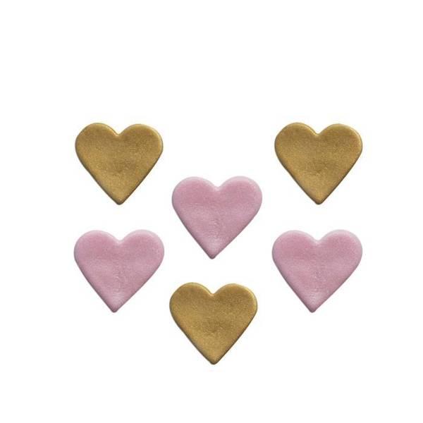 Bilde av Sukkerpynt, Hjerte Gull og Rosa, 6 stk
