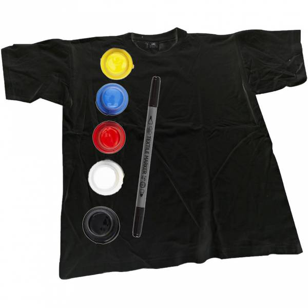 Bilde av Dekorer din egen T-Skjorte, Svart, Str. S -Ink. Tekstilmaling