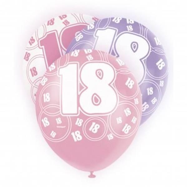 Bilde av 18 år, Ballonger, Rosa, Lilla og Hvit