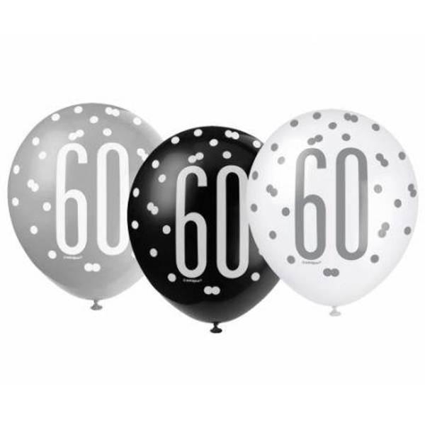 Bilde av Sort og Sølv 60 År Ballonger, 6 stk