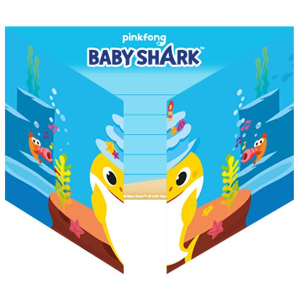 Bilde av Baby Shark Invitasjoner, 8 stk