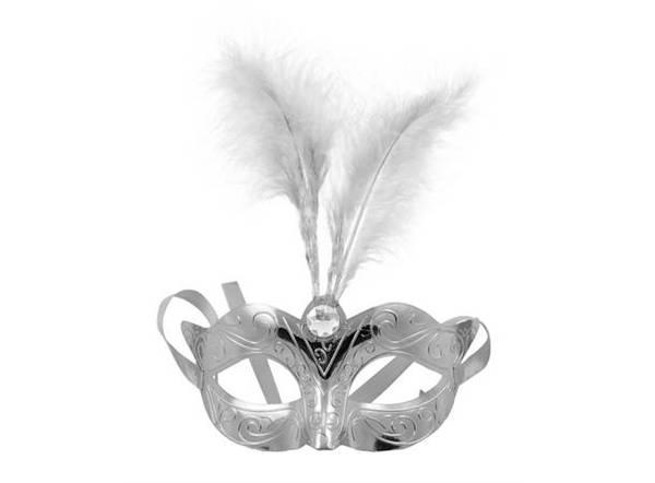 Bilde av Maske med Fjær - Metallic Sølv