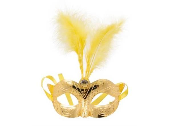Bilde av Maske med Fjær - Metallic Gull