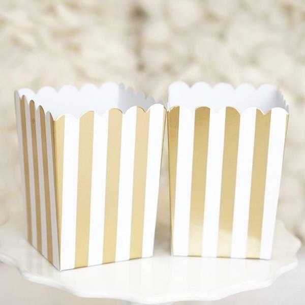 Bilde av Popcornbeger, Striper i Gull/Sølv