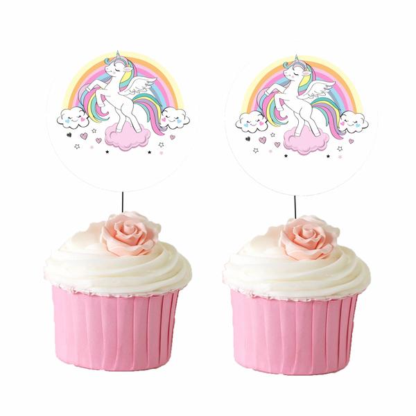 Bilde av Unicorn, Cupcaketoppers, 8 stk