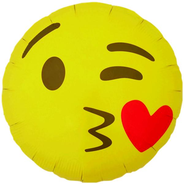 Bilde av Emoji Kissing Heart Folieballong 46cm