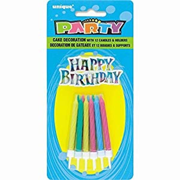 Bilde av Happy Birthday Kakelys,12 stk, Variant 2
