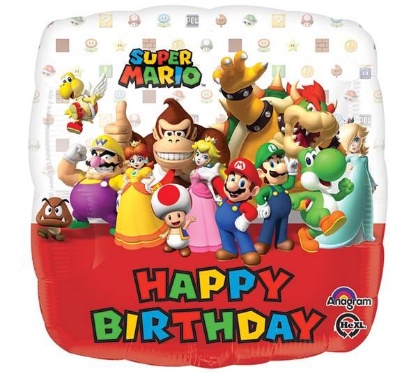 Bilde av Super Mario, Folieballong, Happy Birthday