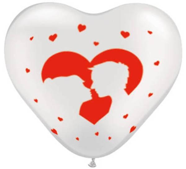 Bilde av Hjerteballonger Hvit og rød Kiss, 8stk