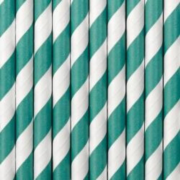 Bilde av Papirsugerør, Turkis m/striper