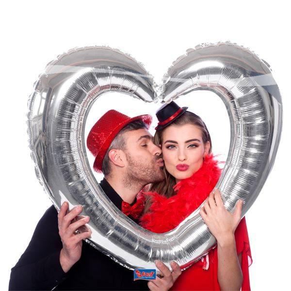 Bilde av Sølvfarget folieballong - Hjerteramme