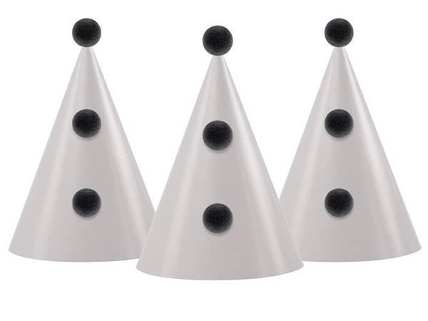 Bilde av Party Hatt, Hvit m/svarte pompoms, 9 stk