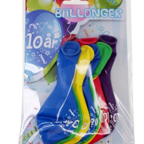Bilde av Fargerike Ballonger 10 år, 8 stk
