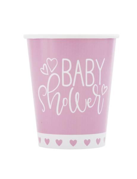 Bilde av Pink Hearts, Baby Shower,kopper, 8stk