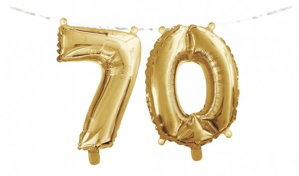 Bilde av Gull,Folieballongbanner, 70 År